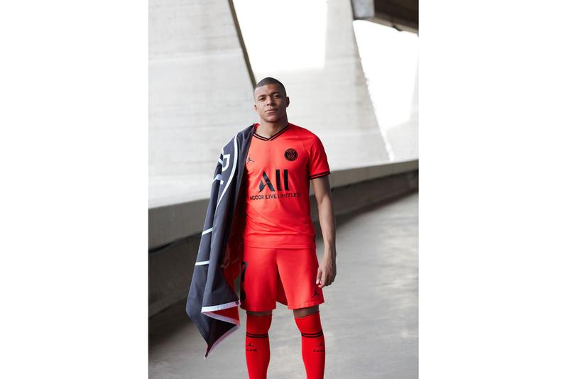 Paris Saint-Germain x Jordan Brand Infrared 2019/20 away Kit jumpman psg football soccer collaborations nike kylian mbappe neymar jr