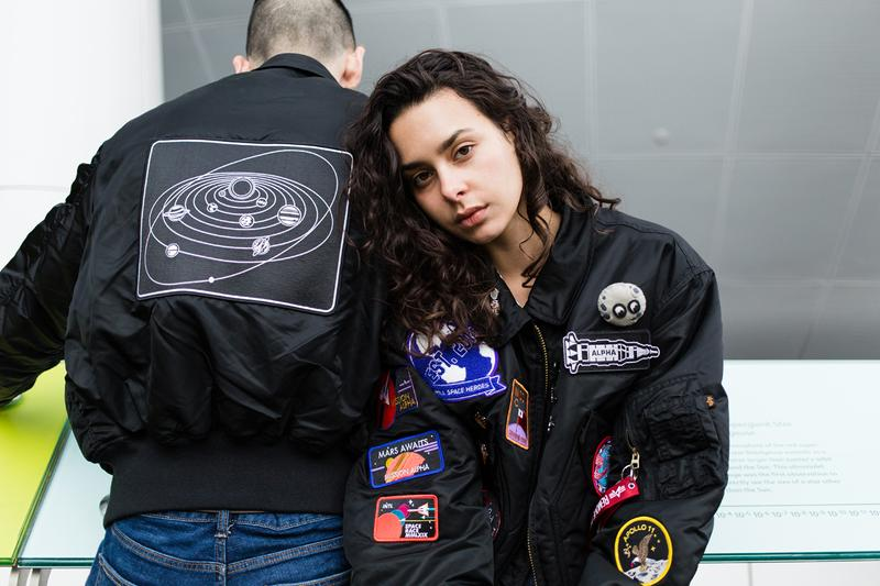 PINTRILL Alpha Industries CWU 45/P Space Race Flight Jacket Fall/Winter 2019 Collection Pins Patches NASA Moon Black Blue Red White Apollo 11 Moon Outer Space Aliens Area 51 Solar System Badges We Come In Piece Remove Before Flight Orbit
