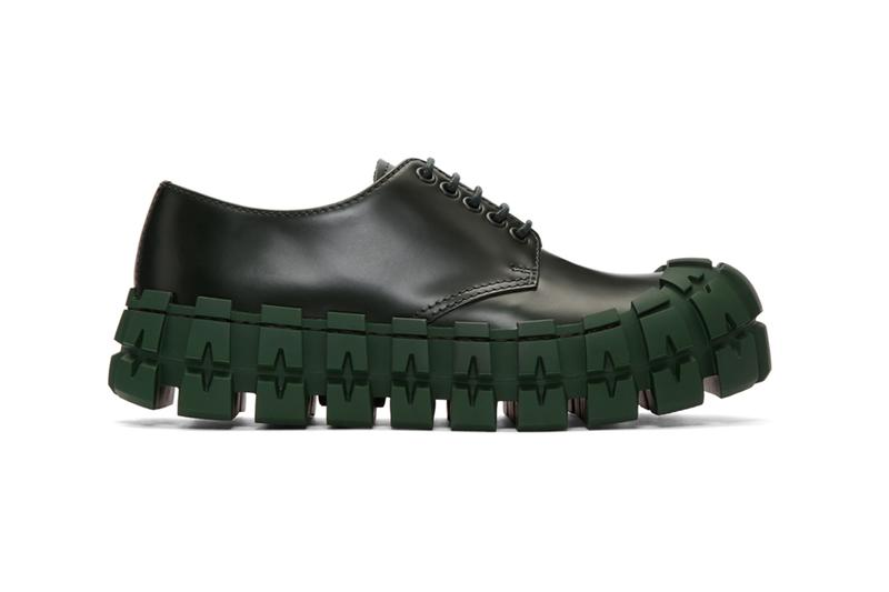 Prada Black Wheel Sole Zip Boots and Derbys classic tonal stitching eyelets tire treads thick chunky made in italy leather sleek minimal green