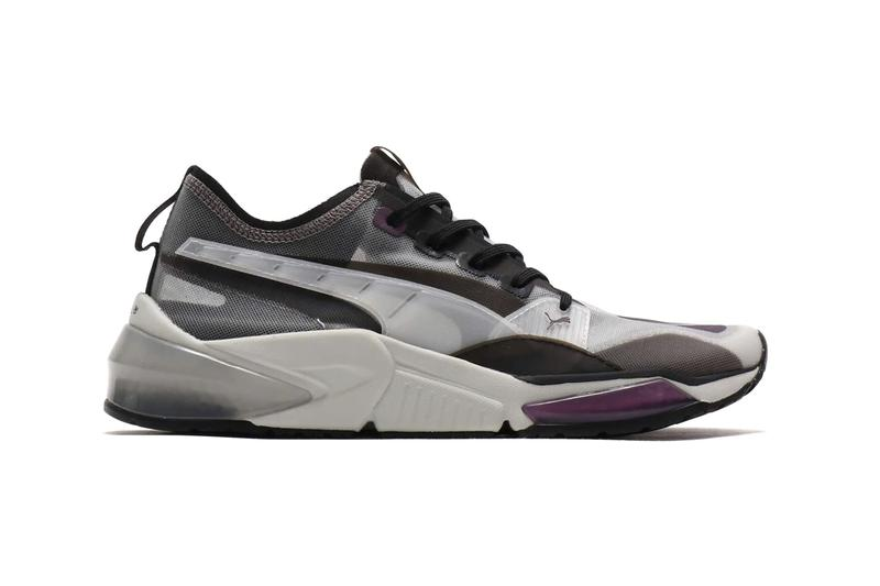 Puma LQD CELL Optic Sheer Gray Violet Honeycomb midsole profoam technology progressive translucent nylon upper purple