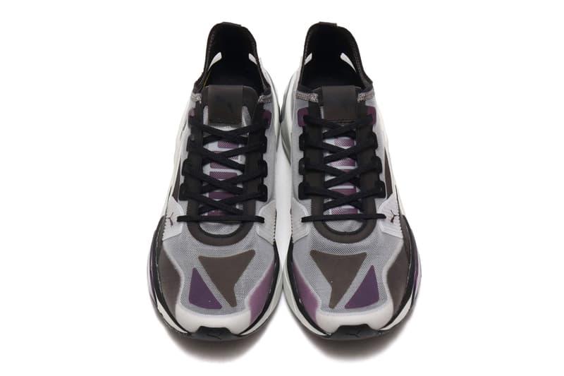 Puma LQD CELL Optic Sheer Gray Violet Honeycomb midsole profoam technology progressive translucent nylon upper purple