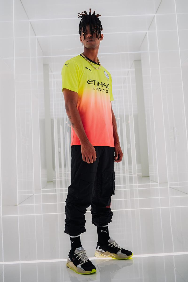 manchester city puma third kit 2019/20 premier league champions league season peach yellow pink gradient bold release information details
