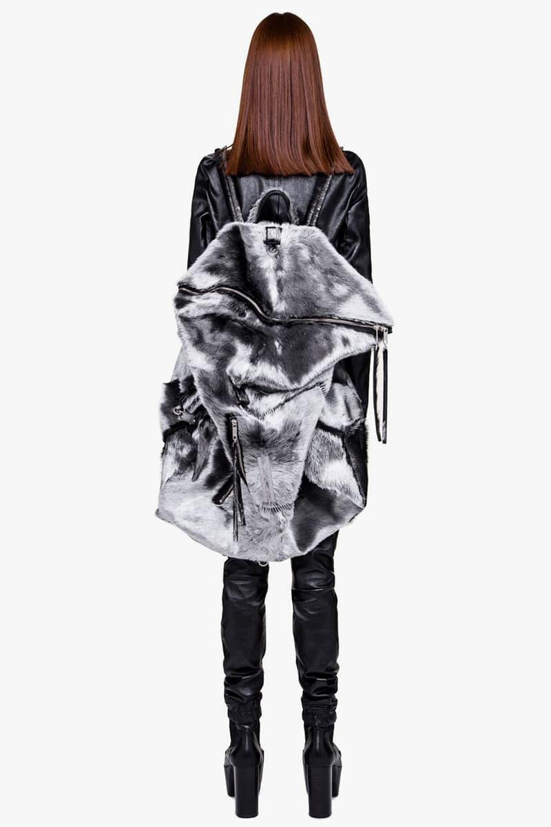 Rick Owens Larry Fall Winter 2019 Collection Bag Rucksack Backpack Midi Megaduffle Aluminium Silver Cow Hair Calf Leather Metal Detailing Hardware