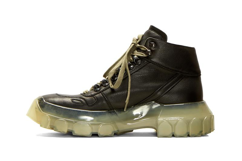 Rick Owens Larry Tractor Sneaker Boot Fall/Winter 2019 FW19 Collection Footwear LN-CC Natural Grain Leather Rigged Translucent Chunky Sole Unit Release Information Cop Online