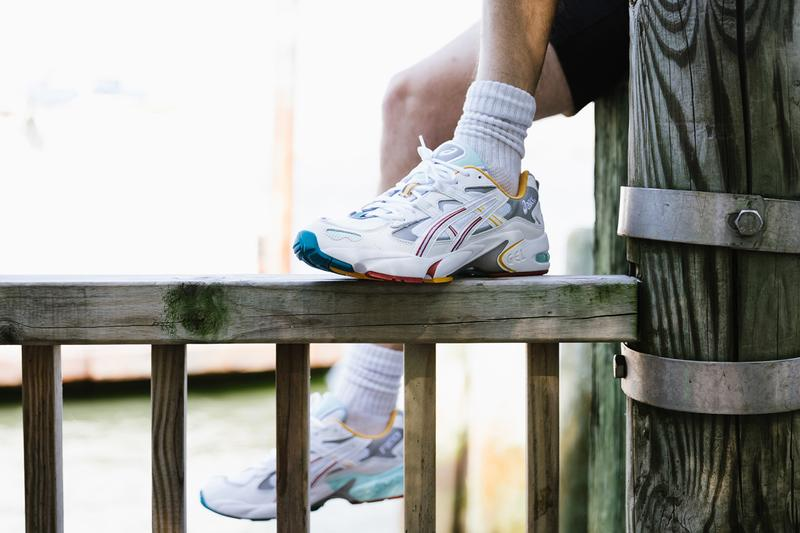 Ronnie Fieg ASICS Gel-Kayano 5 OG the Oasis Closer Look sneakers on feet photos pictures white yellow red blue green seafoam