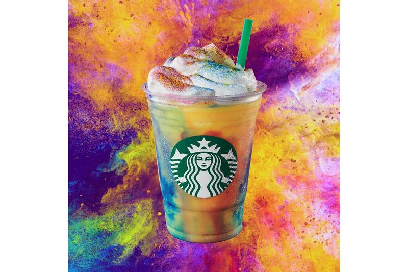 Starbucks Tie-Dye Frappuccino Summer Groove Food and Drinks 1960s '70s Inspired Sweet Participating Stores United States of America Canada USA Tropical Crème Yellow Red Blue