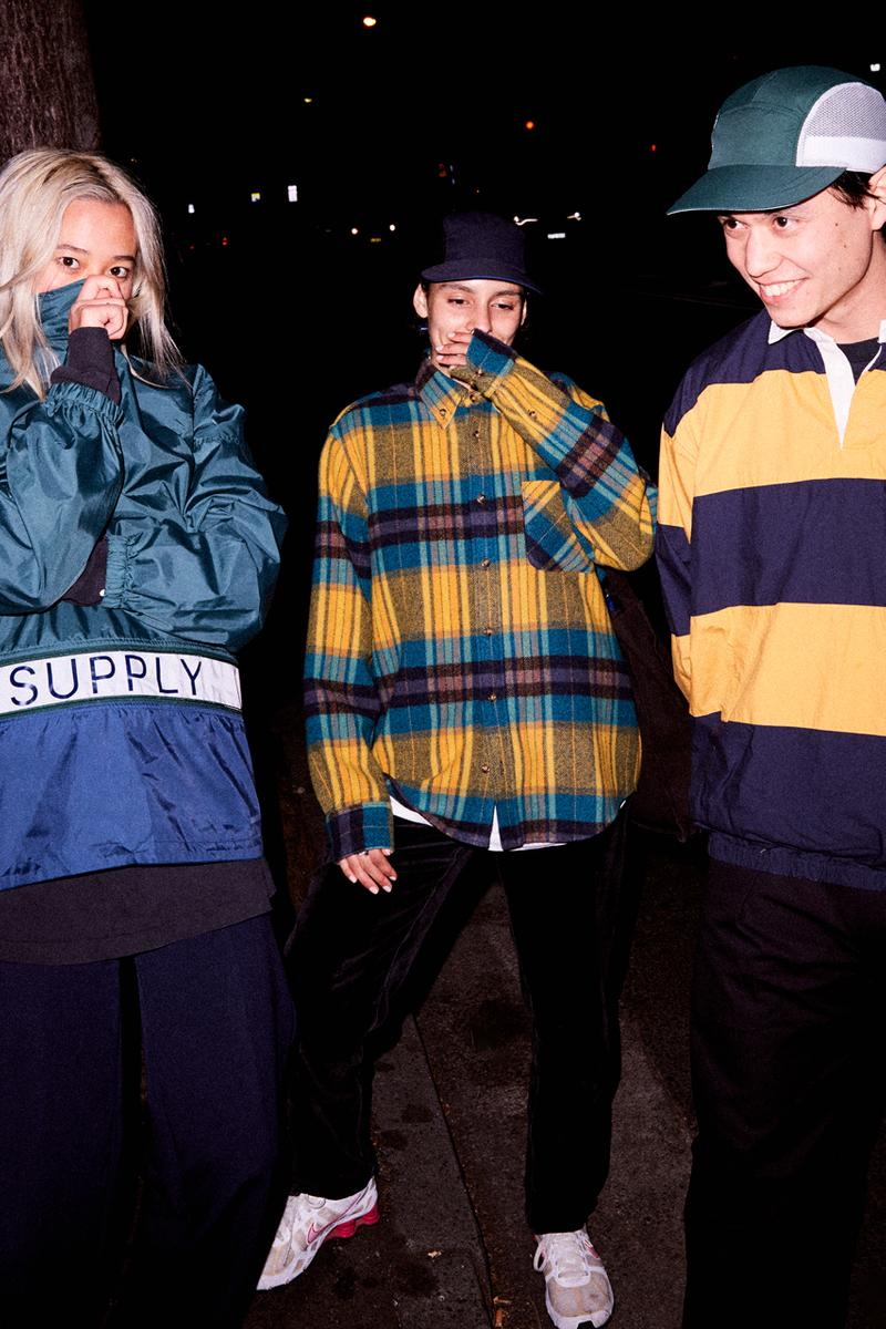 Supply Fall Winter 2019 collection Lookbook skate wear Flannels Hoodies Shirts Tees Hats Rugs Black Yellow Pink Blue Green White