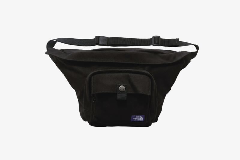 The North Face Purple Label Suede Waist Bags Beige Light Navy Black Ballistic Nylon ripstop fabric microfibre leather purple patch logo sewn branding pocket metal button