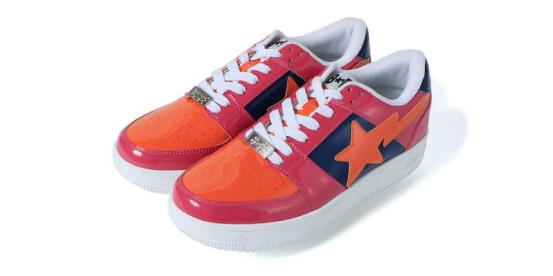 BAPE Color Block BAPESTA Low Release spring summer 2019 a bathing ape sneakers orange pink sta motive navy blue