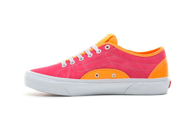 Vans BESS NI Orange Pop Knockout Pink Navy Stv Billys exclusive waffle sole white laces checkers side stripes midsole duo tone asymmetrical