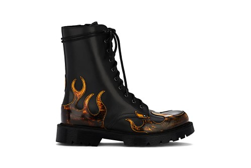 Vetements Gives the Classic Combat Boot Orange Burnished Leather Flames