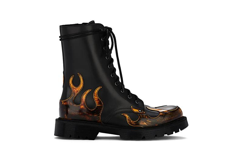 Vetements Flame Detailed Leather Boot Barneys New York Black Orange Yellow