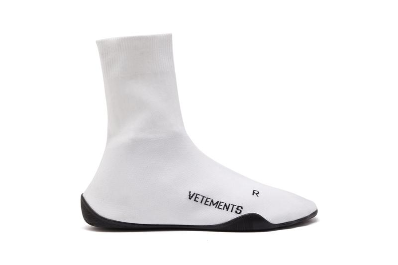 vetements sock trainers anarachy print jersey logo jacquard white black colorway release
