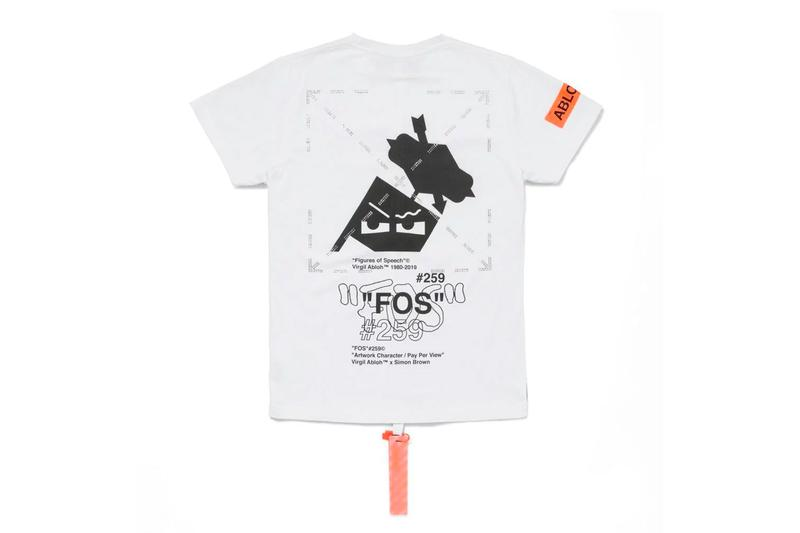"Virgil Abloh x Simon Brown MCA Chicago Apparel release info drop date price stockist museum of contemporary art ""FIGURES OF SPEECH"" exhibition off-white pyrex FOS # blue hoodie tees t-shirts"