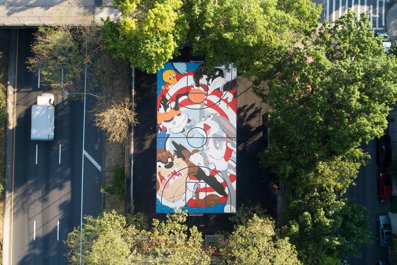 evan rossell warner bros tune squad basketball court mural artwork street art