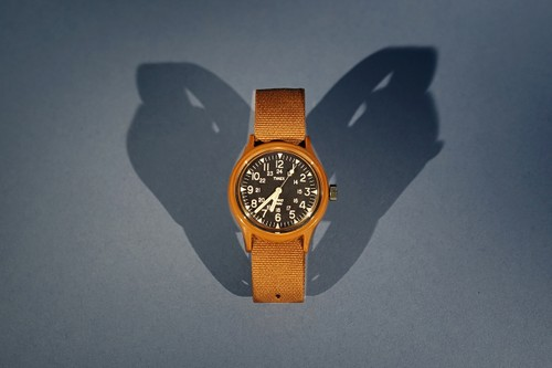 "YMC & Timex Rework '80s Military MK1 Watch in ""Burnt Rubber Brown"""