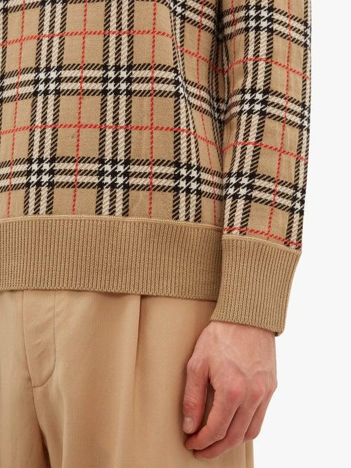 BURBERRY Camel Fletcher check-jacquard wool sweater release where to buy price 2019