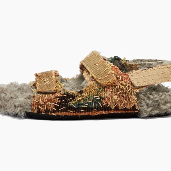 By Walid 17th-Century Shearling-Lined Felix Sandals