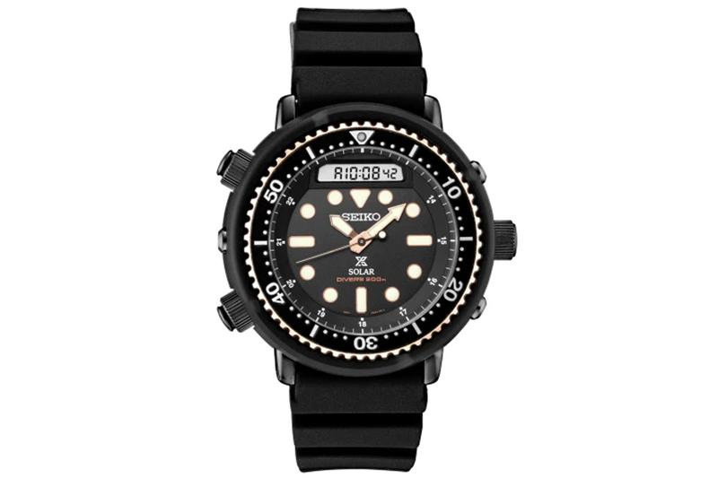 Seiko SNJ028 Recreates 1982 Hybrid Divers Watch black rose gold technology bezel 47.88mm new watch hybrid diver 150m analog digital