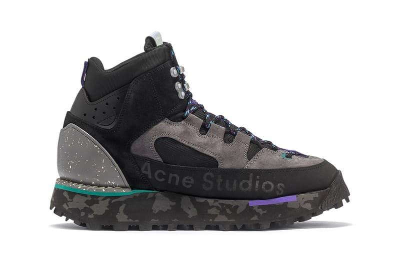 acne studios bertrand trekking boots berton logo printed leather suede sneakers fall winter 2019 black grey purple colorway release