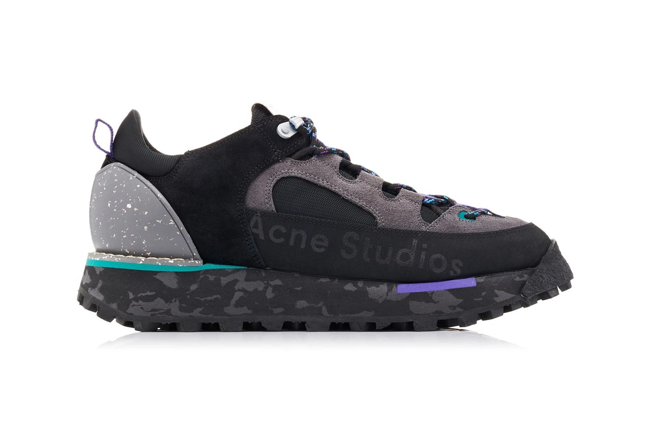 acne studios アクネストゥディオズ bertrand トレッキング シューズ ブーツ trekking boots berton 2019 秋冬 logo printed leather suede sneakers fall winter 2019 black grey purple colorway release