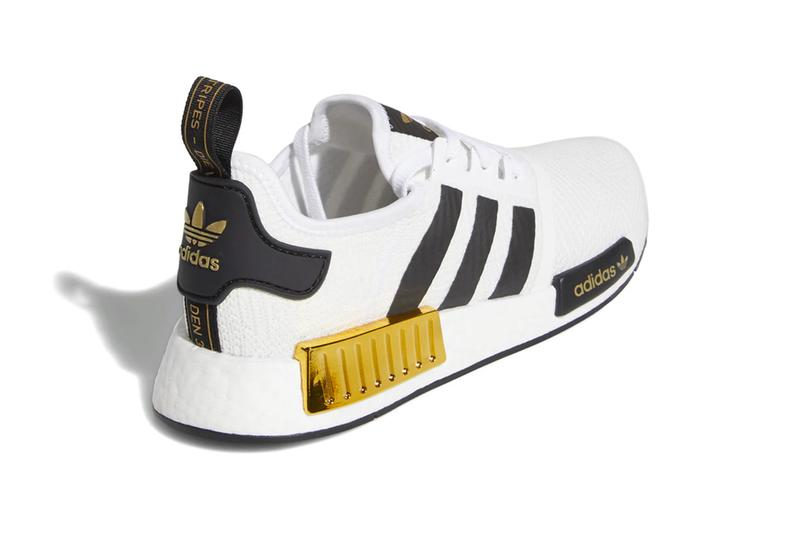 adidas NMD R1 Cloud White Gold Metallic eva plugs shiny glinting boost sole white black sneaker footwear runner performance trainer cushion mesh primeknit upper
