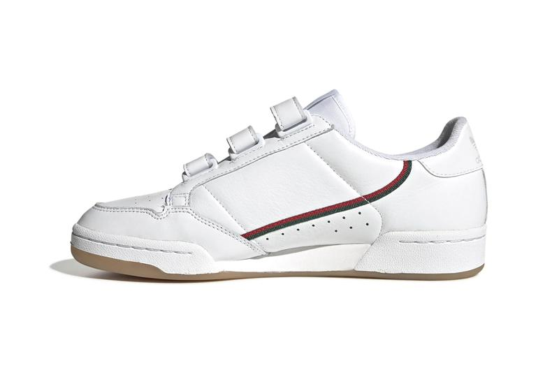 adidas Originals Continental 80 Velcro Cloud White Collegiate Green Scarlet Gucci Colorway Black Maroon Glow Blue Colorways Release Information Retro Sneaker Three Stripes