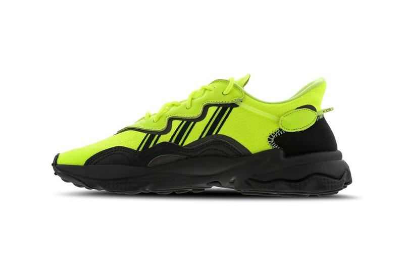 "adidas Originals Ozweego ""Solar Yellow / Black / White"" Foot Locker EU Exclusive Pair Sneaker Release Information adiPRENE Cushioning Neon Y2K 2000s Three Stripes 3M Detailing Reflective Trefoil"