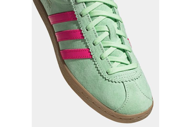 "adidas Originals Stadt New Sneaker Release Information Drop Date Tobacco Inspiration Trimm Star ""Glow Green/Gold Metallic"" ""Real Purple/Solar Yellow"" Gum Sole Unit Three Stripes Adi Dassler German City"