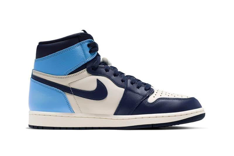 """Air Jordan 1 """"Obsidian"""" Sneaker Release Light Dark Blue Tan Nike UNC"""