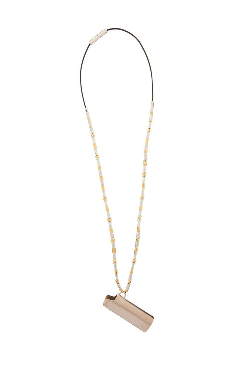 AMBUSH Lighter Case Cord Necklace Yoon Ahn Gold Silver Toned Sterling Beaded Chain 'The Man Who Fell to Earth' David Bowie Pendant Fall Winter 2019 FW19