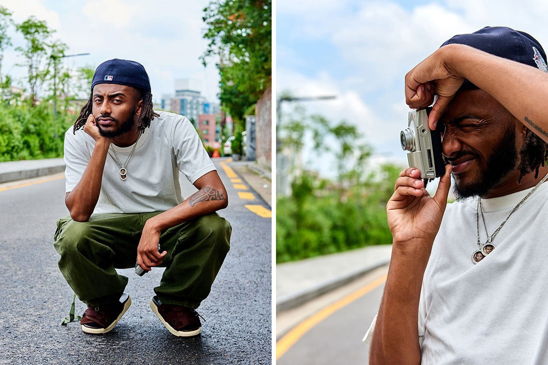 Aminé Streetsnaps Style Interview Feature korea live rapper street snap blackjack visvim seoul asia tour hoka caroline