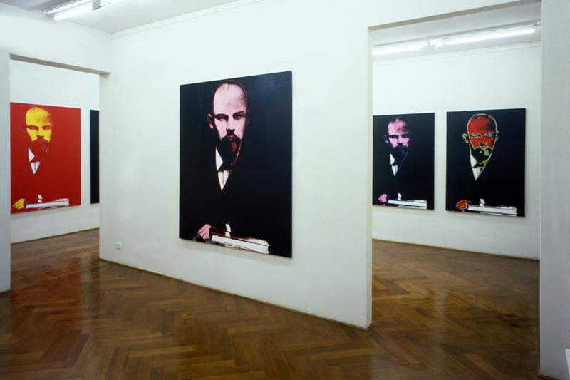 "Phillips London Auction Gallery Bernd Klüser ""Andy Warhol's Lenin"" Exhibit Pink Red Black Yellow Blue White"