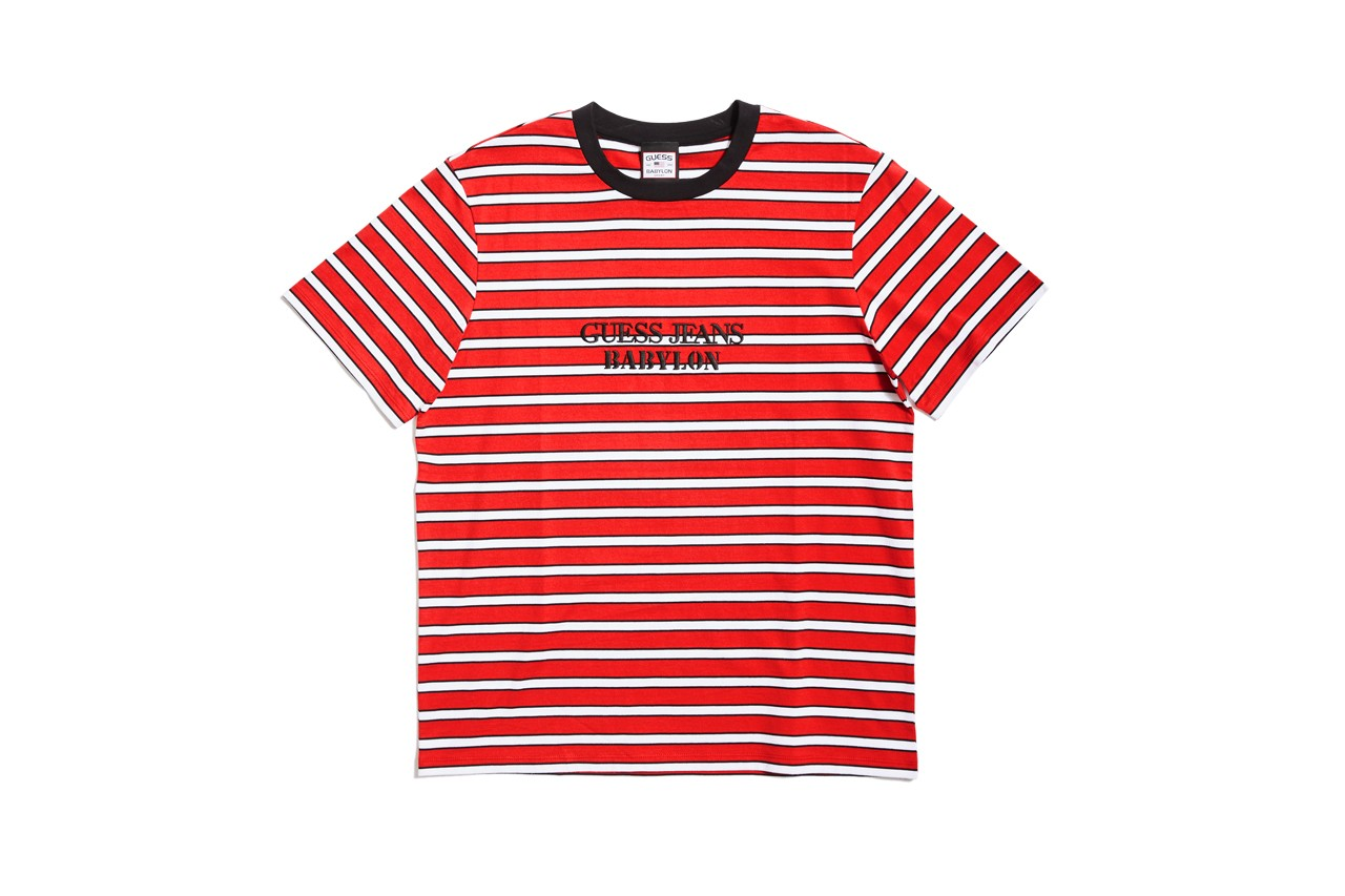 Babylon x GUESS Jeans U.S.A Release Info stripes black red white hockey tees GUESS Sport cargo pants music skateboarding downtown los angeles DTLA lot annual