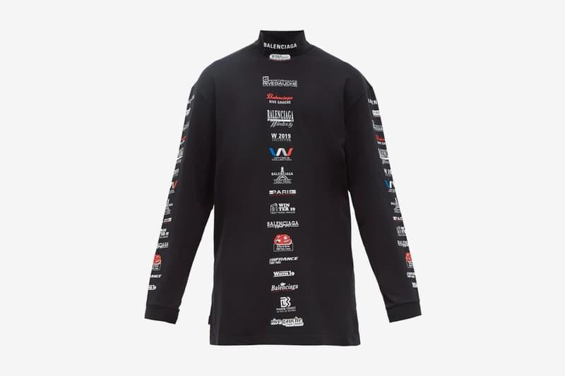 Balenciaga Multi Logo High-Neck Cotton T-shirt logos france paris