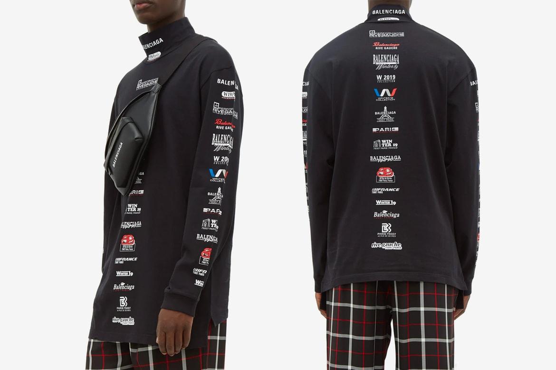 a5ebf3ddd Balenciaga Multi Logo High-Neck Cotton T-shirt | HYPEBEAST