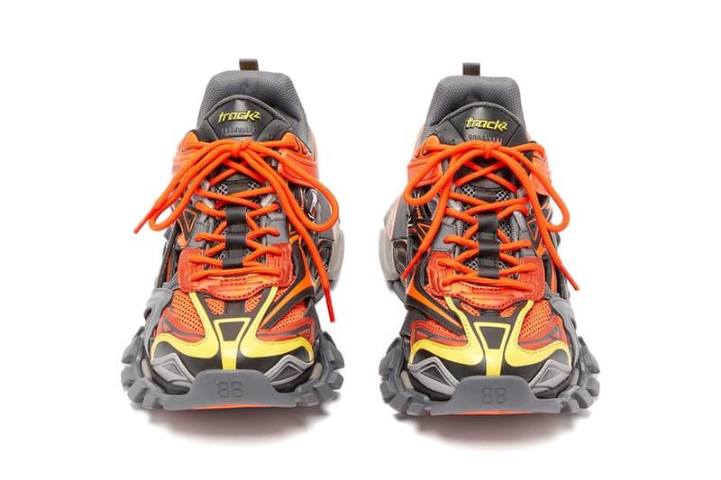 Balenciaga Track.2 Sneaker Orange Yellow Grey Panelled Trainers Footwear Drop Release Information Cop MATCHESFASHION.COM Demna Gvasalia SS19 Spring Summer 2019 172 Components Mesh Nylon