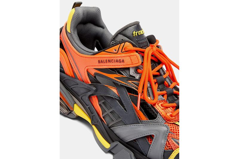 Balenciaga Track.2 Sneaker Orange Yellow Grey Panelled Trainers Footwear Drop Release Information Cop MATCHESFASHION.COM Demna Gvasalia SS19 Spring Summer 2019 172 Components Mesh Nylon