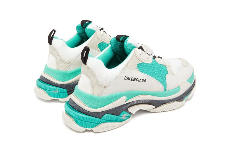 balenciaga triple s low top lowtop sneakers white grey turquoise colorway release  trainer trainers shoes seafoam blue green