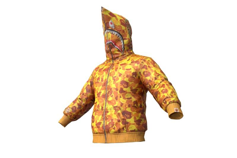 PUBG x BAPE Capsule Collection a bathing ape mobile games a bathing ape shark hoodie backpack orange camo ape head collaborations