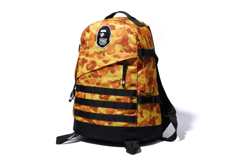 PUBG x BAPE Capsule Collection a bathing ape mobile games a bathing ape shark hoodie backpack orange camo ape head collaborations