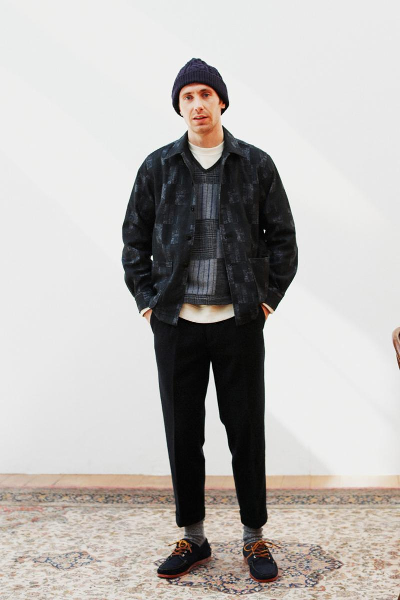 Beams Plus Fall/Winter 2019 Lookbook Collection Jackets Cardigans Shirts Coats Argyle Flannel Tweed Scarves Beanies Caps Blue Green Red Yellow Orange Black White Gray