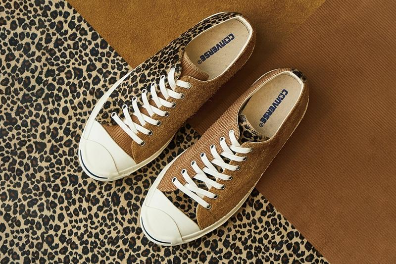 billys converse jack purcell blend leopard print corduroy beige suede sneakers shoes japan shibuya