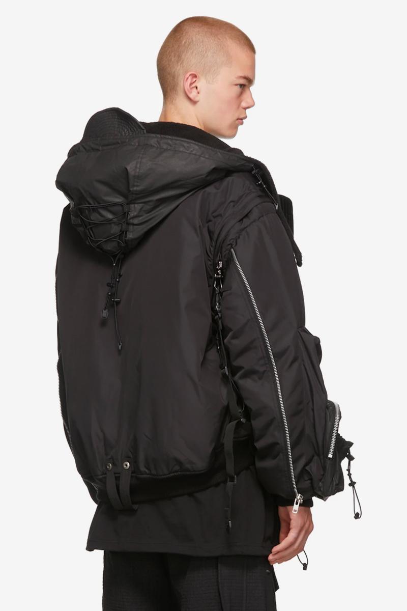 Blackmerle SSENSE Exclusive Black Hooded Bomber Jacket ma-1 bomber jacket tech flight coat warm korean ssense