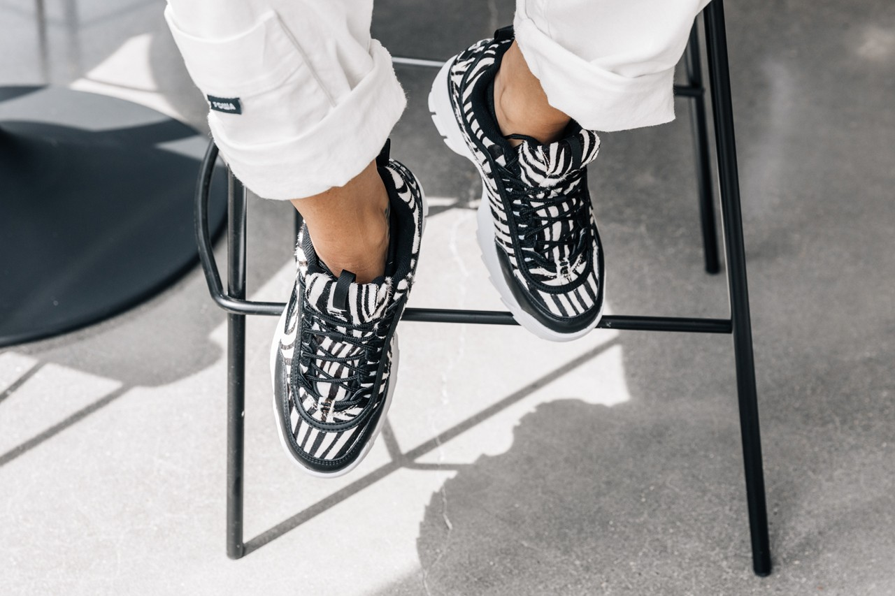 Closer Look at FILA Disrupter 2 Zebra and Nike Air Max 200 available exclusively at Bloomgindale's chunky heel print colorful sneakers department store