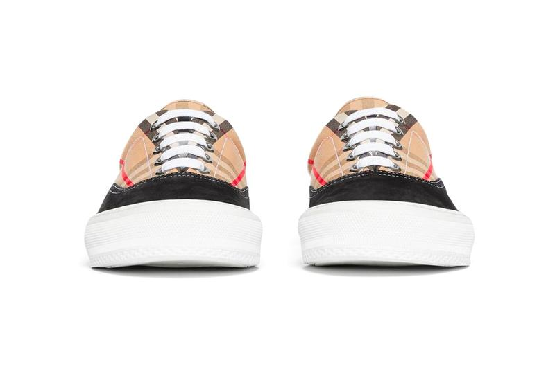 Burberry Leopard Print Nylon Suede Sneakers Vintage Check Cotton shoes footwear riccardo tisci made i n italy embroidery lettering plaid beige black honey archive