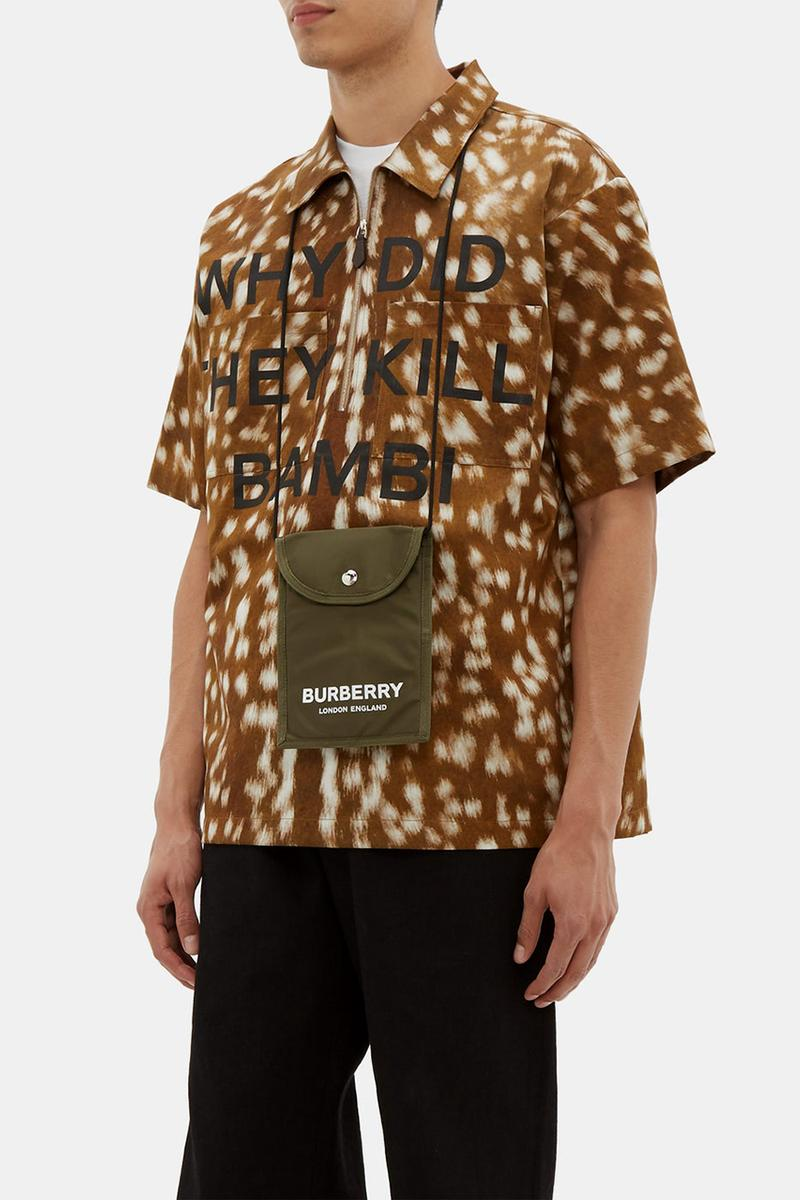 """Burberry Releases """"WHY DID THEY KILL BAMBI?"""" SS19 Runway Zip-Up Shirt"""