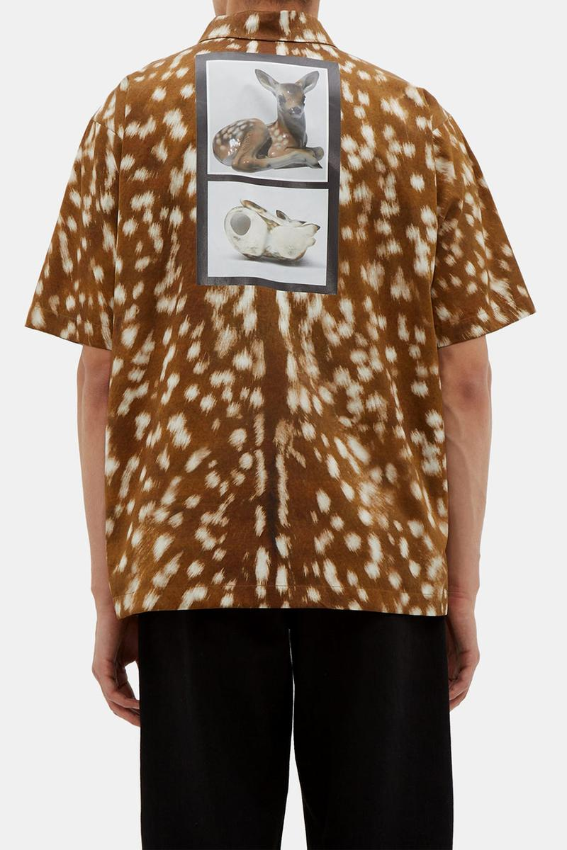 """Burberry """"Why Did They Kill Bambi?"""" Deer Print Shirt Cotton Leather Zipper Riccardo Tisci Menswear Spring Summer 2019 SS19 Runway Piece Sex Pistols Vivienne Westwood"""