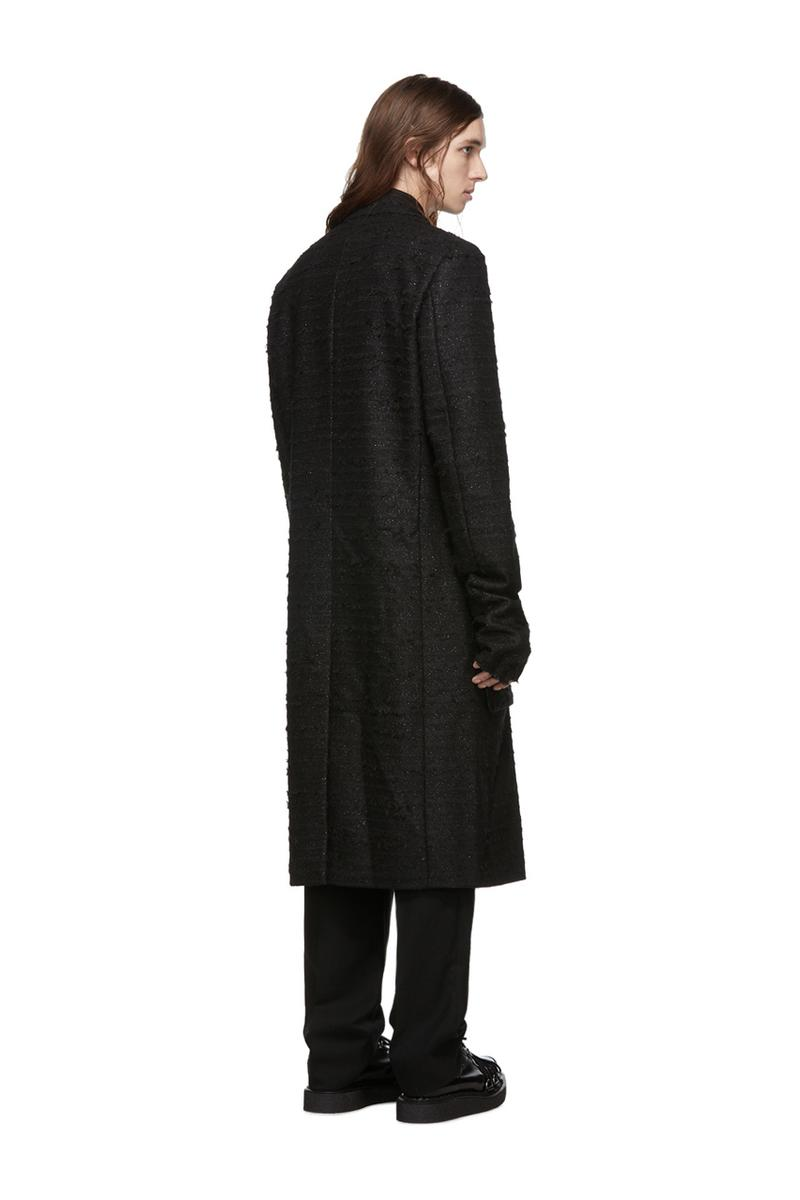 COMME des GARÇONS Homme Plus Black Long Coats Twill Double Breasted faux fur Gold Stitching Wool Finger Hole elongated tailored slim cut