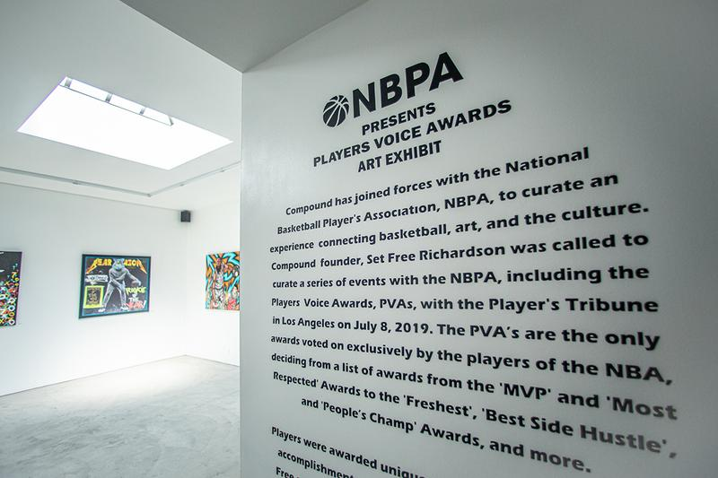Compound Gallery New York South Bronx Los Angeles NBPA National Basketball Player's Association Set Free Richardson Exhibition 4th Annual Voice Awards MVP Most Respected Awards Freshest Best Side Hustle People's Champ Awards LeBron James Kevin Durant PJ Tucker Rudy Gobert Gordon Hayward Ron English, Naturel, BK The Artist, Free Hand Profit, King Saladeen, Dragon76, Bahar Bambi, Andre Trenier, Christophe Roberts, Devon Rodriguez Vera Twins